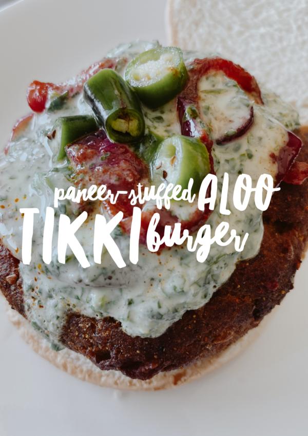 Paneer-Stuffed Aloo Tikki Burger